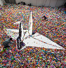 Mega Crane Made Out Of 2 Million Origami Cranes