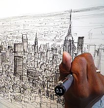 Man Draws Panoramic views of NYC, Tokyo and Rome from Memory!
