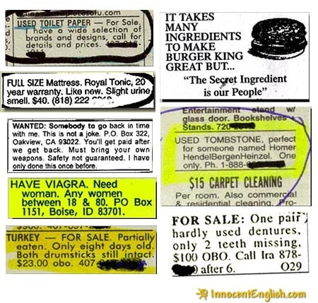 Funny and Weird Classified Ads