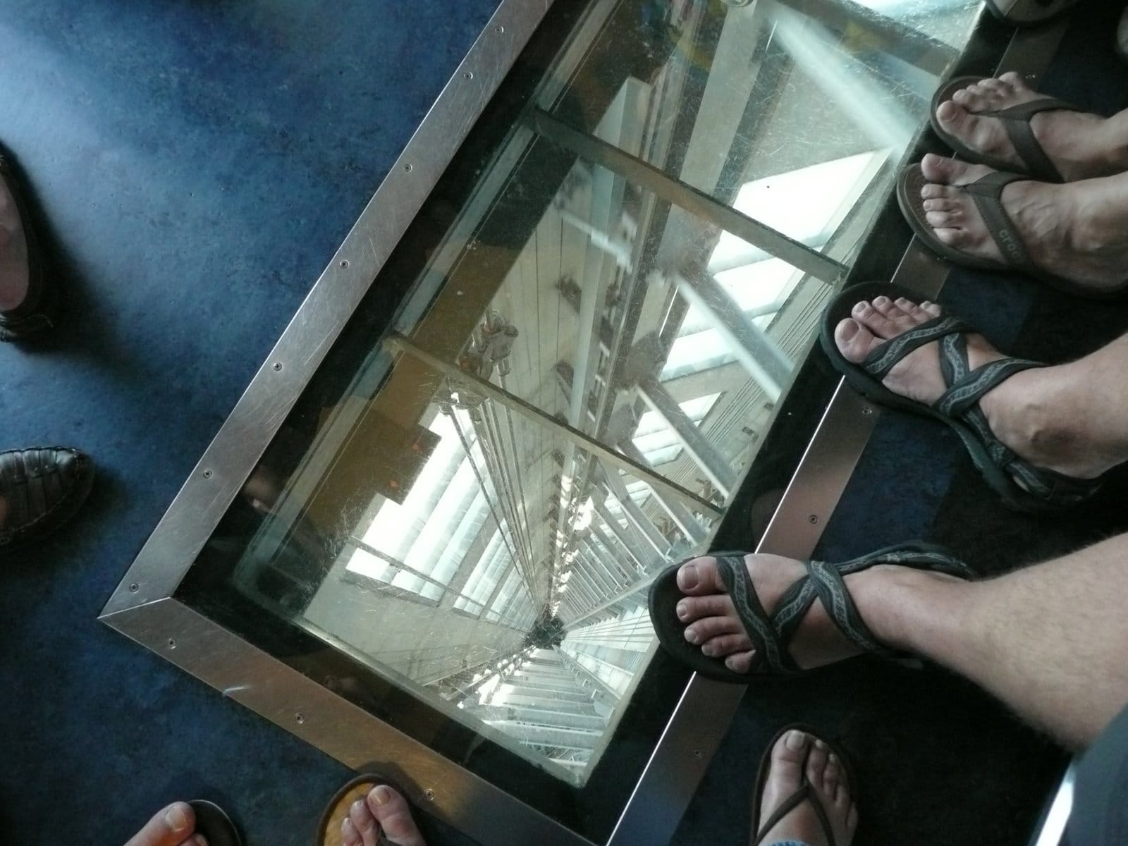 Take A Ride In A Glass-Floored Elevator