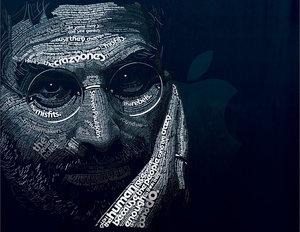 Typographic Portrait of Steve Jobs