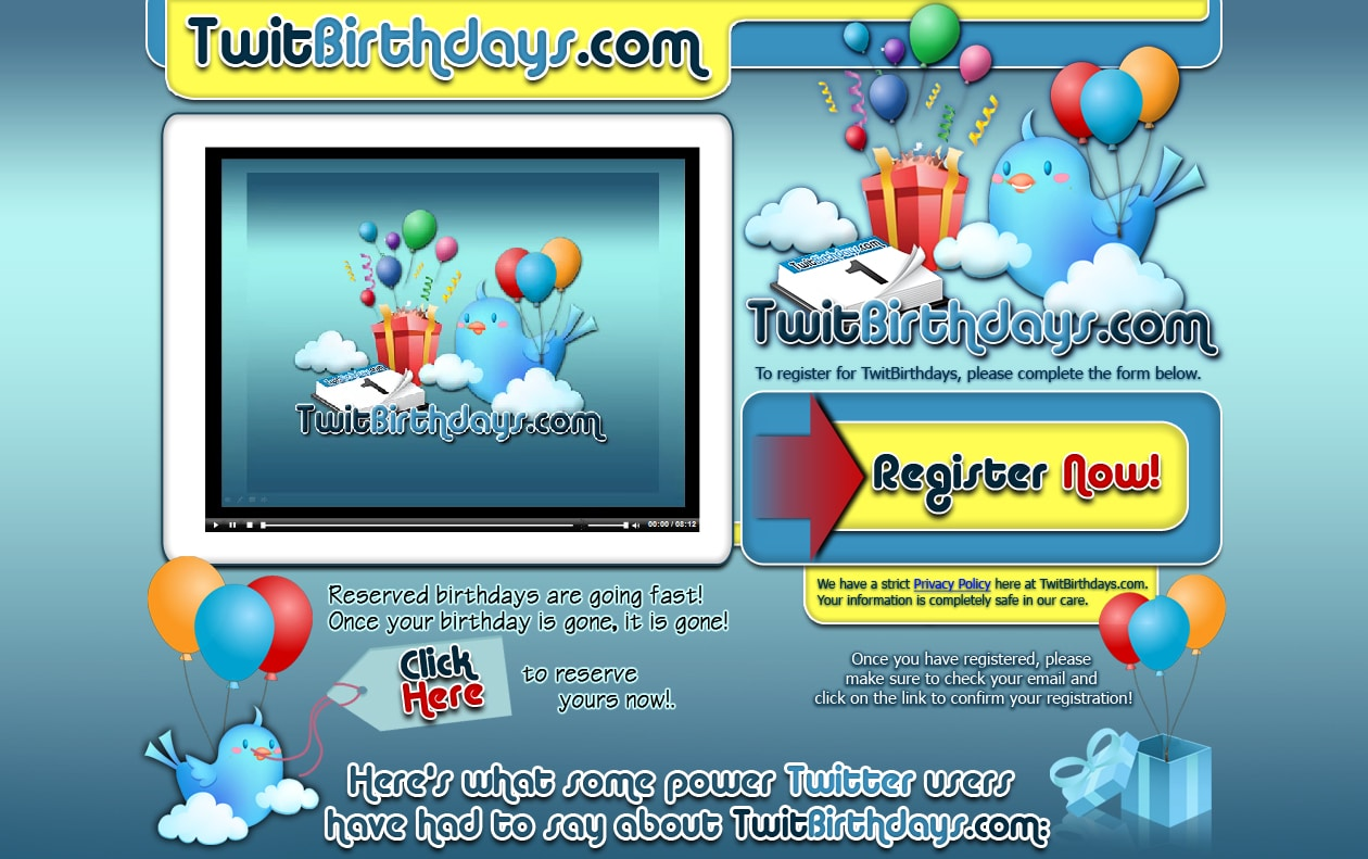 TwitBirthdays.com | Launching In Celebration Of Twitters 4th Birthday