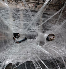 A Gigantic Spider Web Made From Tape – Creative Inspiration