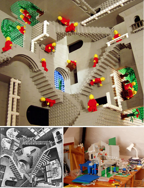 M.C. Escher's Impossible Worlds Recreated In Lego!
