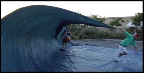 How To: Surf with Just a Tarp and a Skateboard