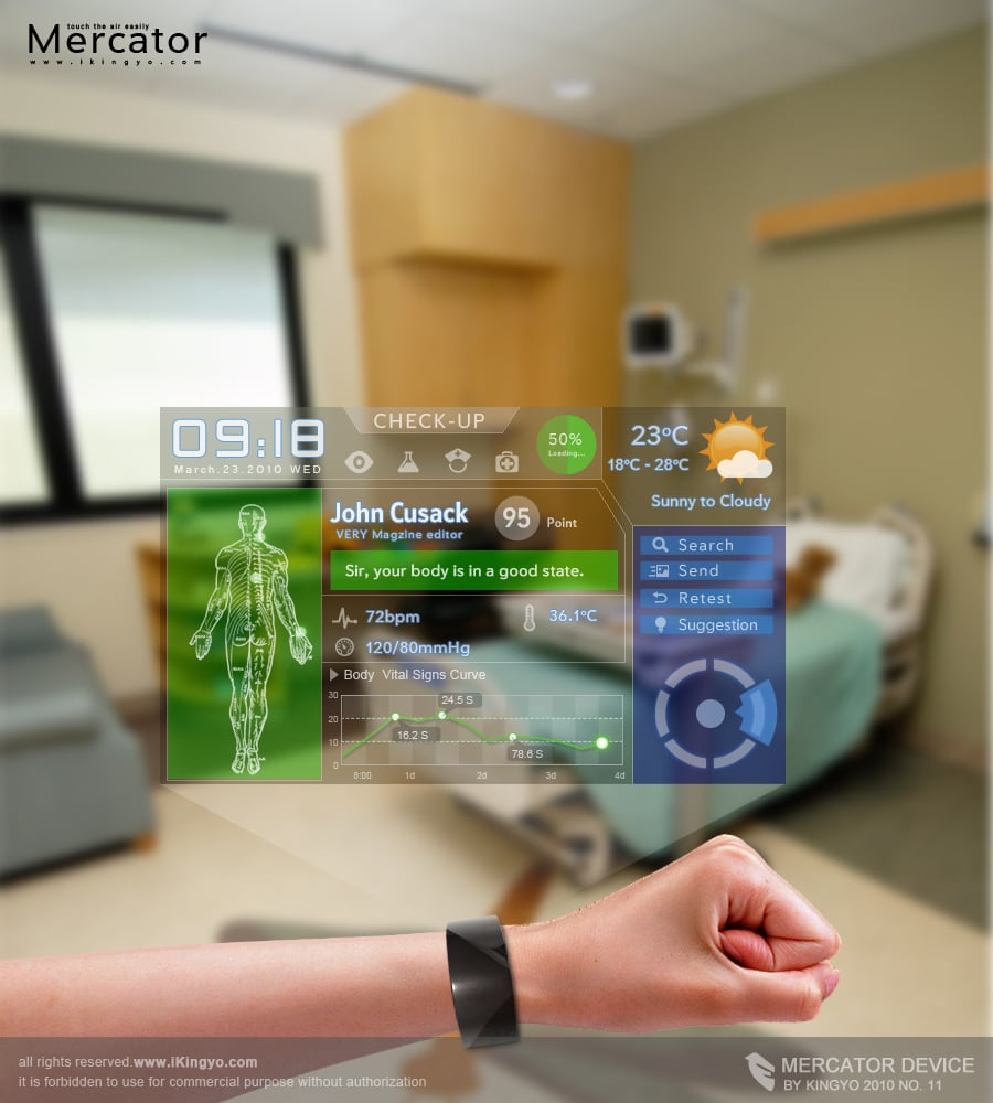 Mercator Cell Phone  The Holographic Wrist Phone Ui Is Here