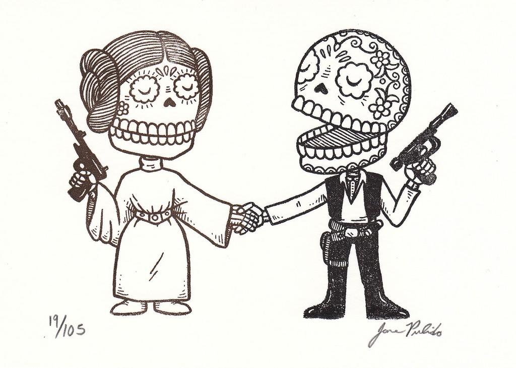 Star wars representado con dibujos tradicionales mexicanos