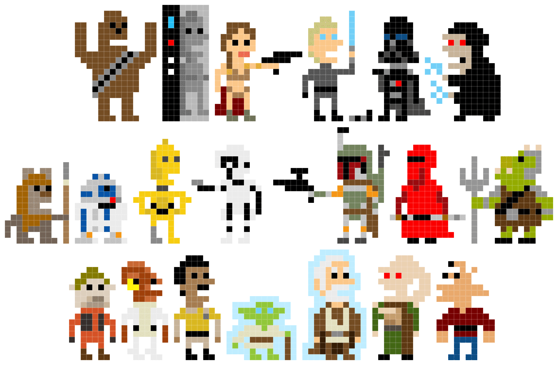 Pixel star wars welcome back to the 8 bit days