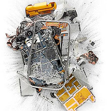 Unusual Art: Blowtorched, Crushed & Shot Apple Products