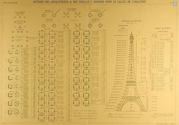 design inspiration the official eiffel tower blueprints. Black Bedroom Furniture Sets. Home Design Ideas