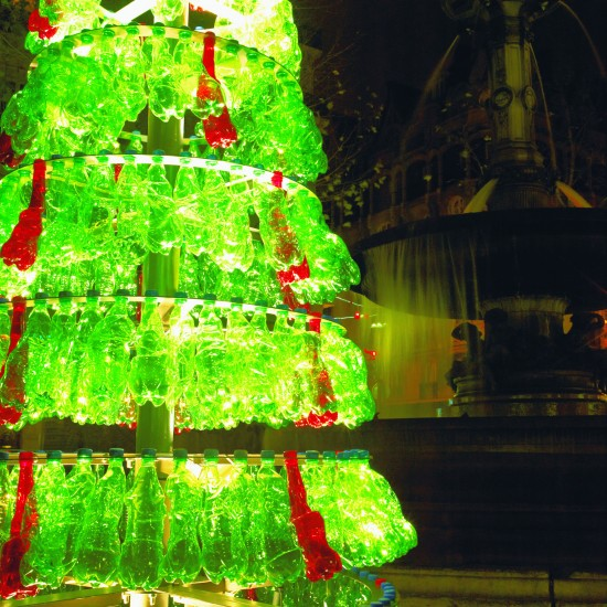 Recycled soda bottles make for a stunning christmas tree for Christmas decorations from recycled plastic bottles