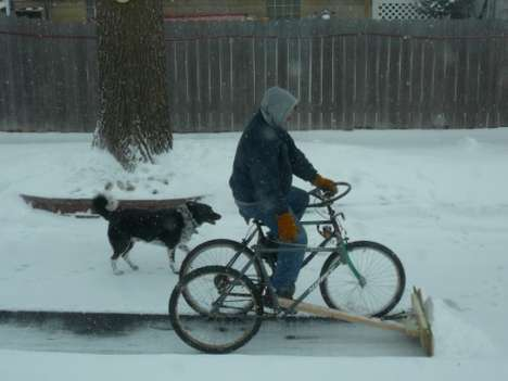 The Bike Plow: Turns Snow Plowing Into Piles Of Fun