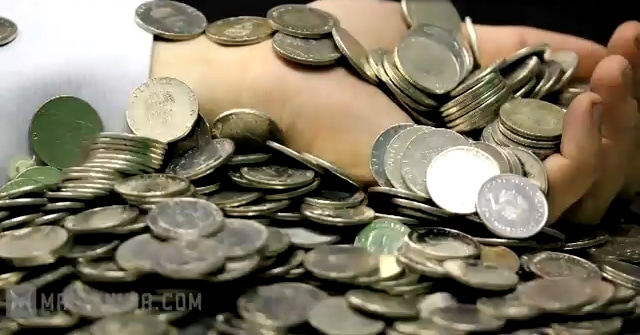Hands Full Of Coins
