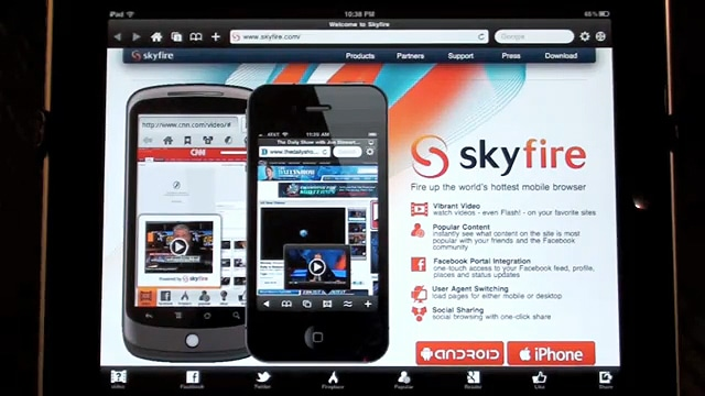 Skyfire: Content And Flash Browser For Your iPad And iPhone!