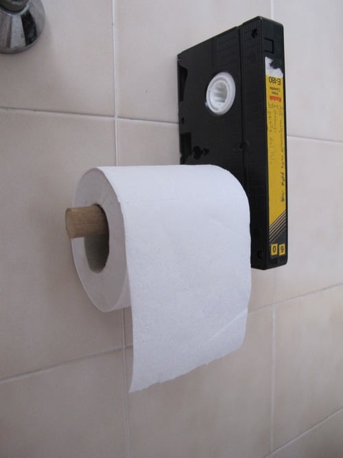 Vhs toilet paper holder makes your bathroom visit fun Funny toilet paper holder