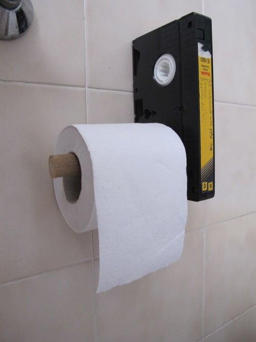 VHS Toilet Paper Holder Makes Your Bathroom Visit Fun!