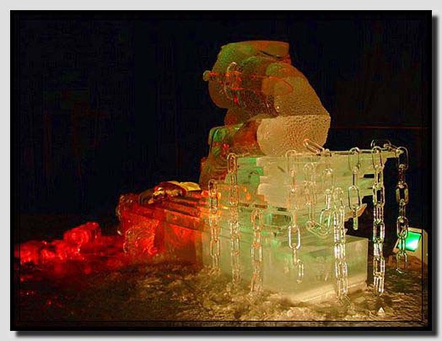 colorful sculptures made with ice