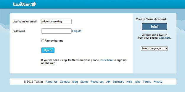 Login Screen On Twitter
