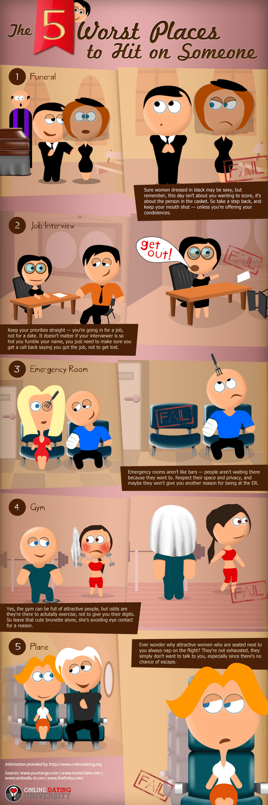 5 Worst Places To Hit On Someone [Infographic]