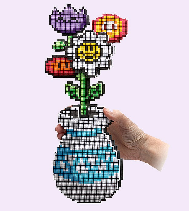 8-Bit Gamer Girl Geek Flowers