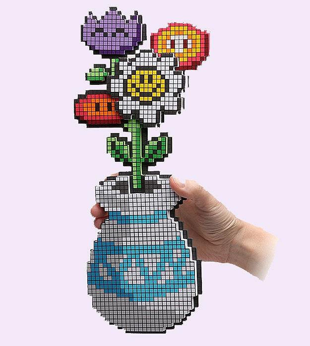 8-Bit Gamer Girl Geek Flowers