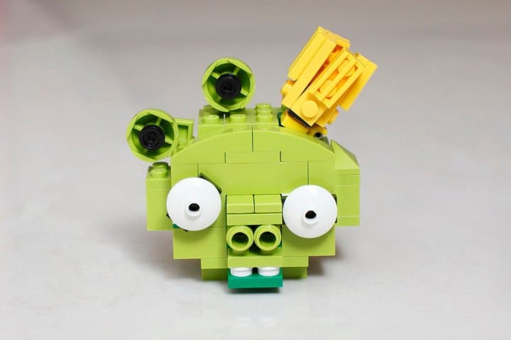 Green Pig Lego Build Closeup