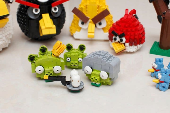 Closeup Lego Green Pigs Birds