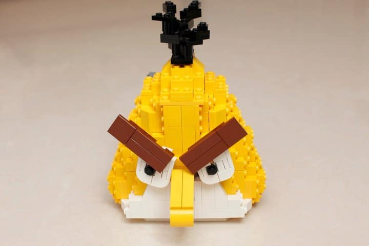 Yellow Bird Lego Build Closeup