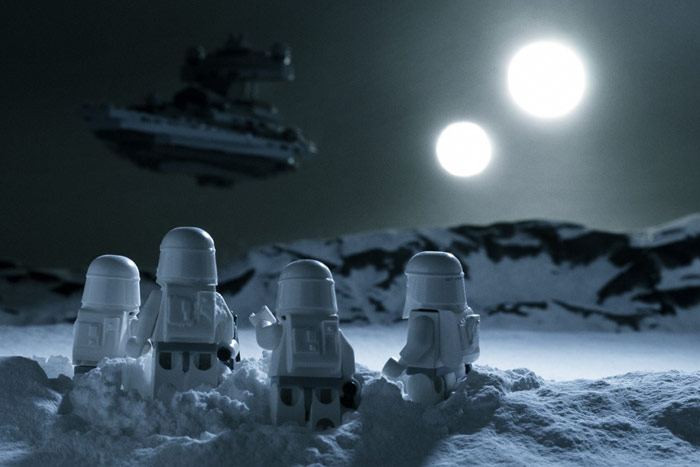 Stormtroopers Walking In Snowy Night