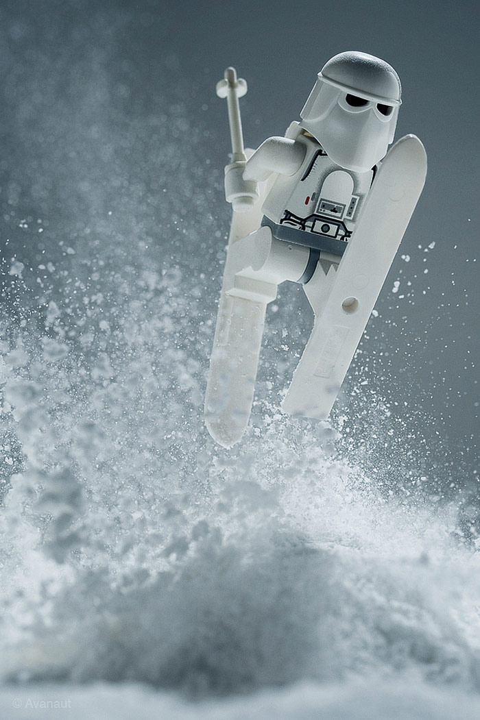 Stormtrooper Skiing Jumping In Snow