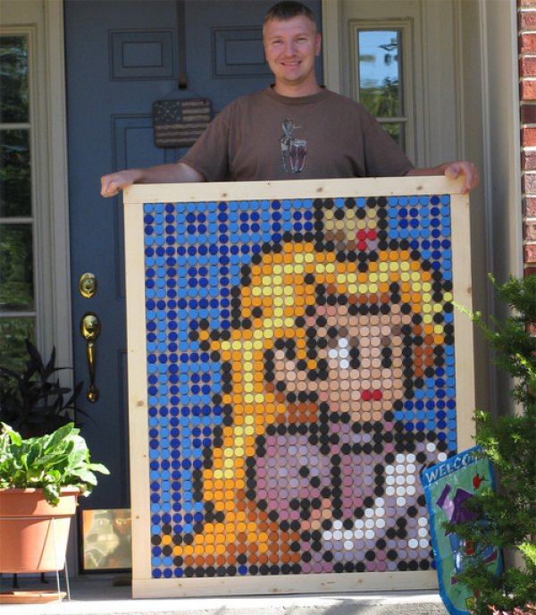 Mario Princess Bottle Cap Art