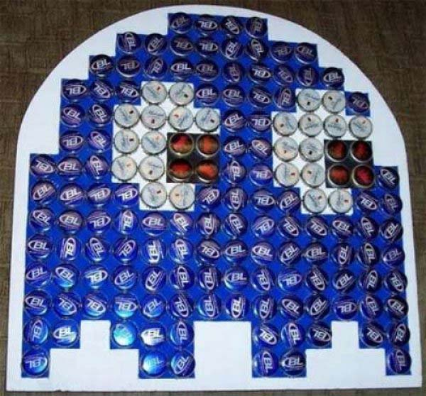 Pac-Man Ghost Bottle Cap Art