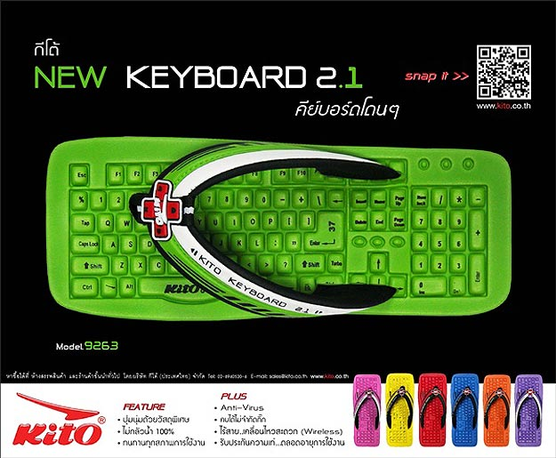 Get Instant Geek Cred: Colorful Keyboard Flip Flops