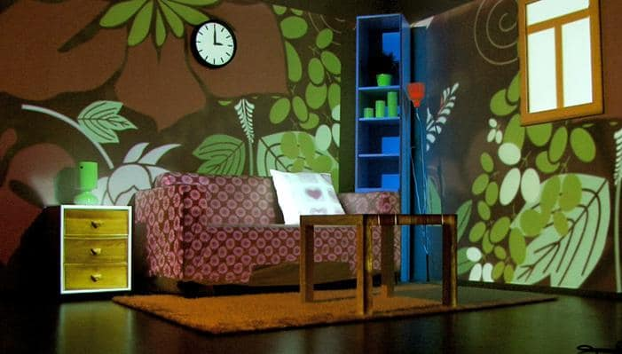 Wallpaper Couch Table Color Projector