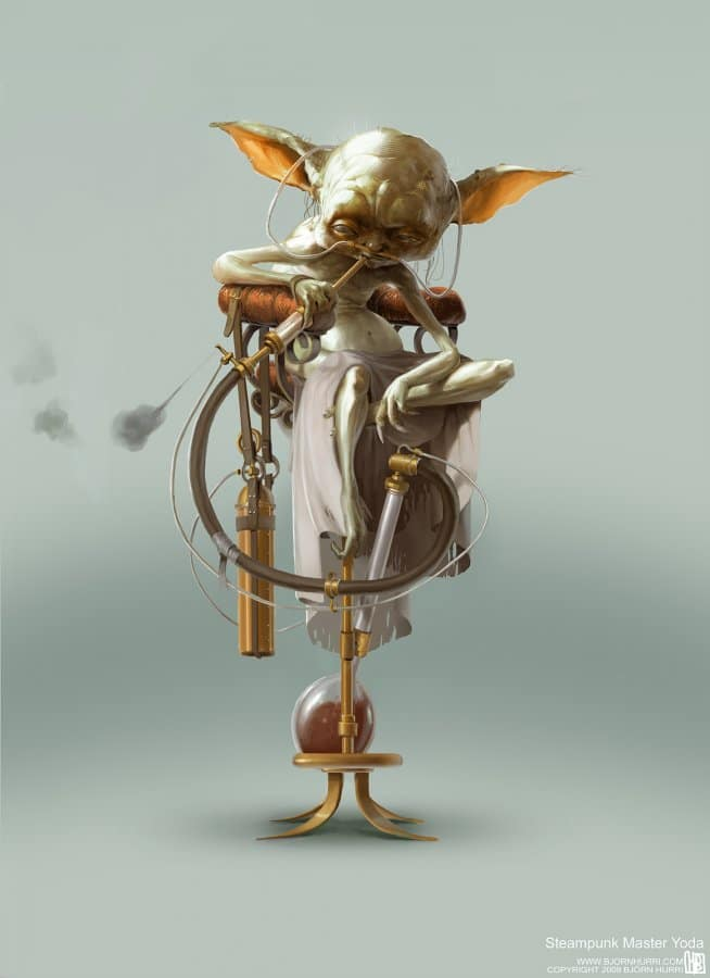 Yoda Sitting On Steampunk Chair