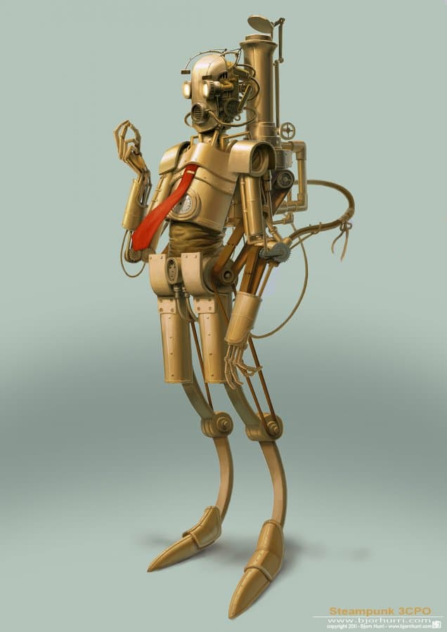 C-3PO Steampunk Golden Robot Drawing