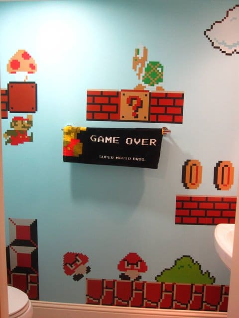 Blocks Super Mario Bathroom Wall