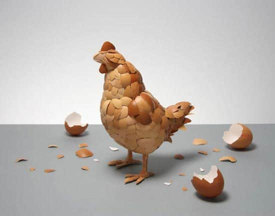 What Came First: A Chicken Made Of Eggshells