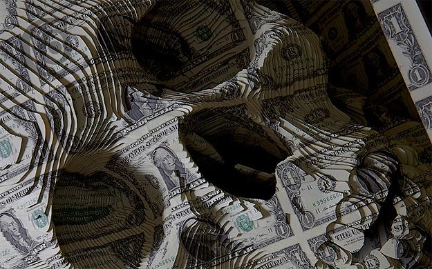 Show Me The Money: The Dollar Bill Skull Sculpture