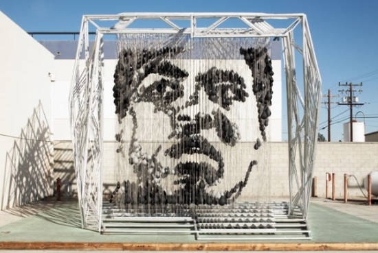 Muhammad Ali Portrait Created Using 1,500 Punching Bags