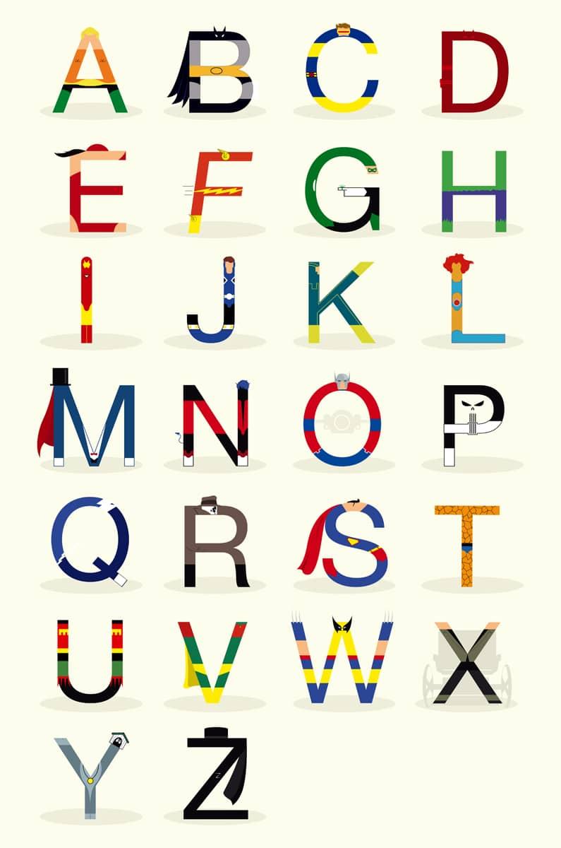 ABC Superheroes Alphabet Design Poster