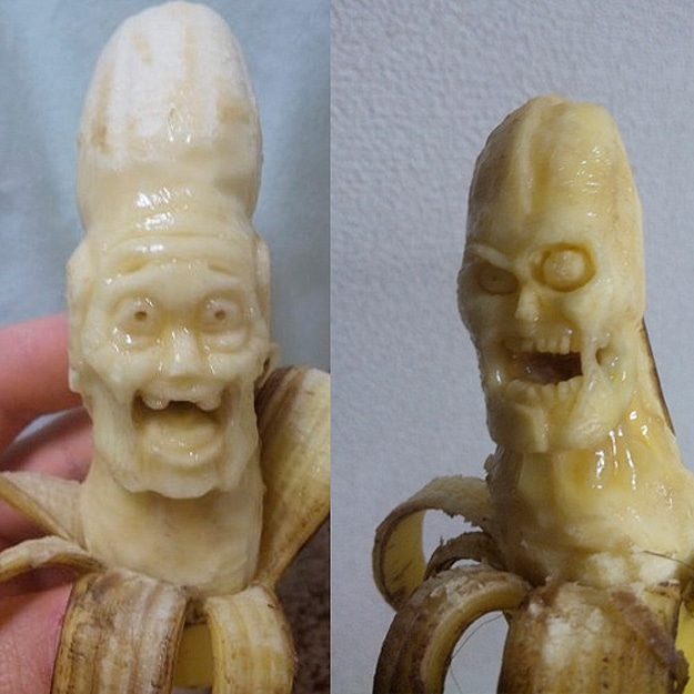 Banana Carvings of Zombies, Superheroes & Dragons