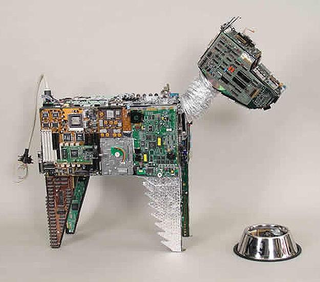 Circuit Board Dog Sculpture