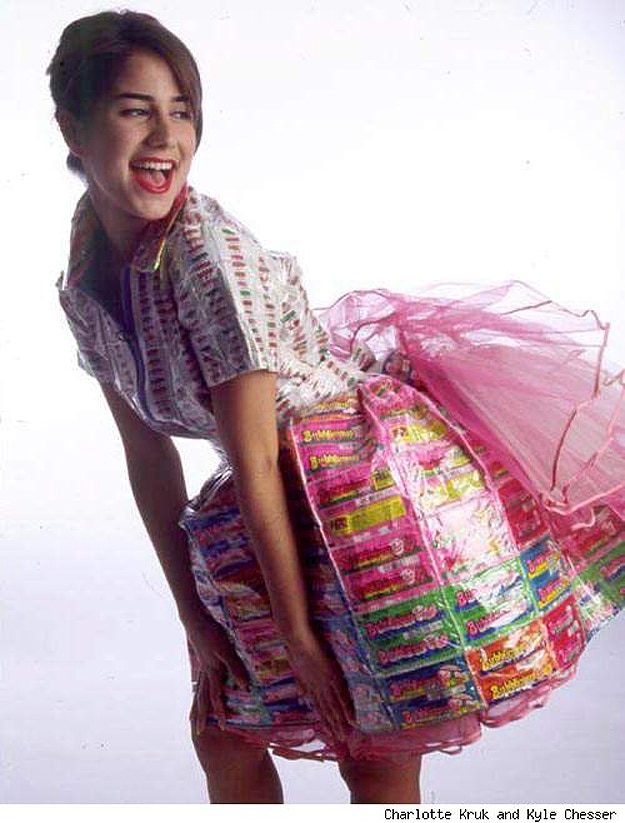 Colorful Prom Dress Made From Candy Wrappers