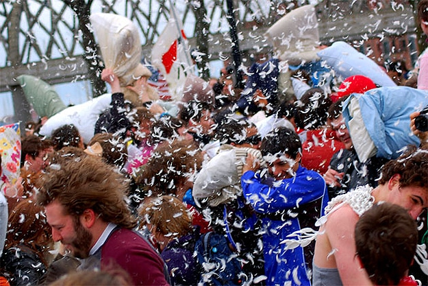 Pillow Fights In Cities Everywhere
