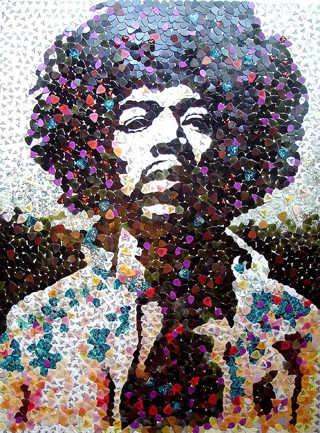 Jimi Hendrix Recreated With 5,000 Guitar Picks