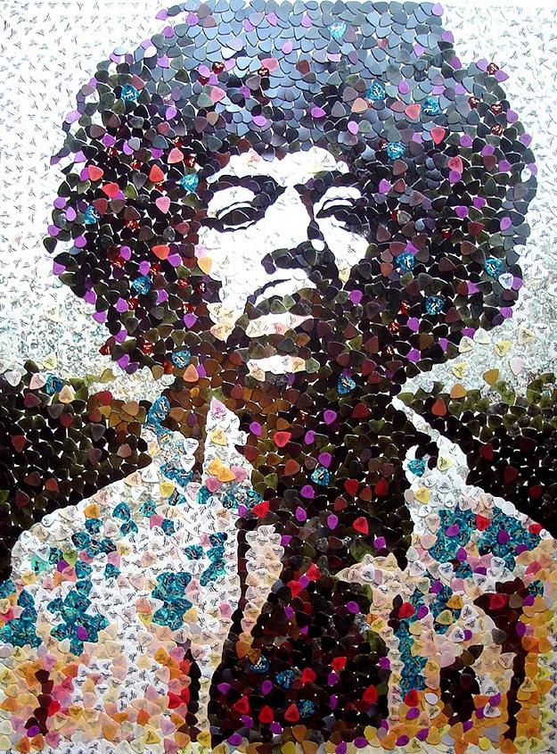 Jimi Hendrix Recreated With 5,000 Guitar Picks