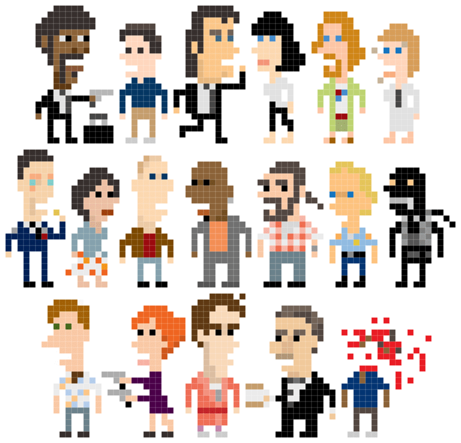 Pulp Fiction Pixelated Character Design