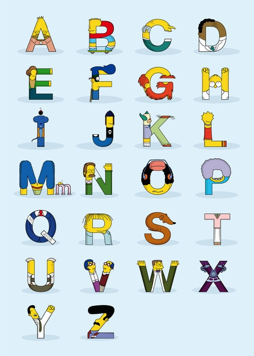 Simpsons ABC Letter Alphabet Design