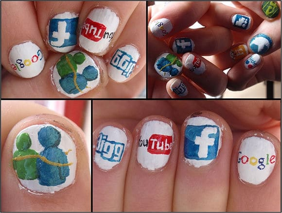 social media icon inspired nails